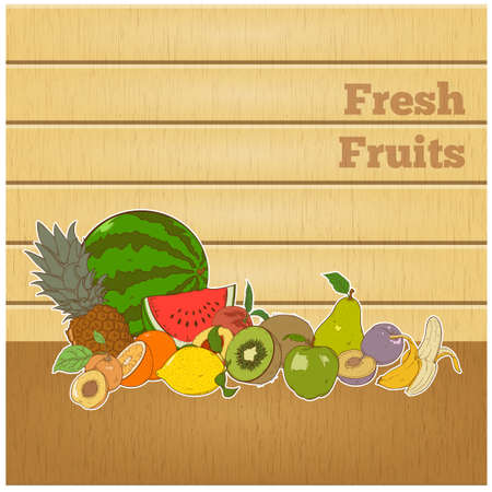Summer healthy diet organically grown fruits colorful banner abstract isolated vector illustration