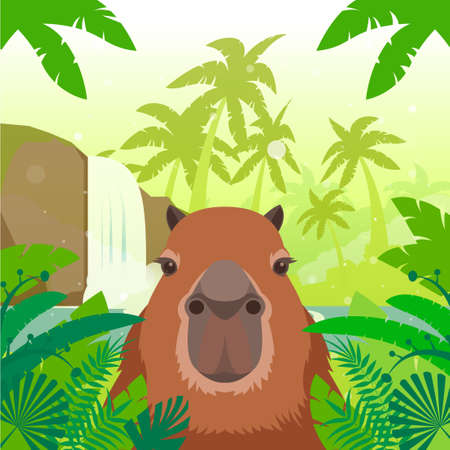 Illustration pour Flat Vector image of the Kapibara on the Jungle Background - image libre de droit