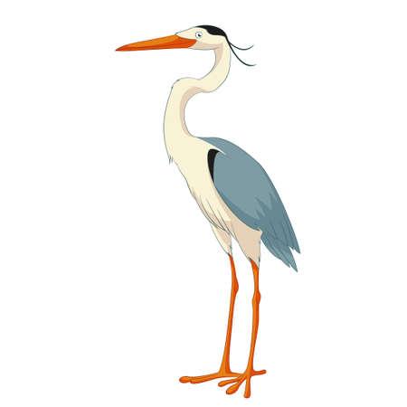 Ilustración de Cartoon smiling Heron - Imagen libre de derechos