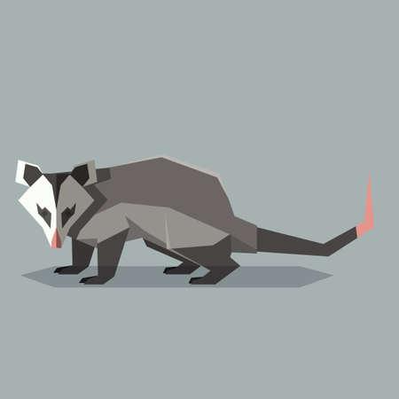 Illustration pour Vector image of the Flat polygonal Opossum - image libre de droit