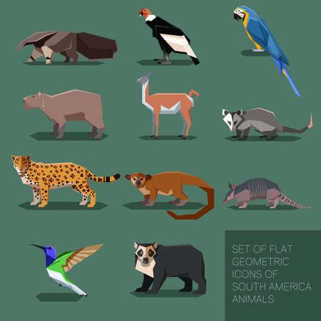 Illustration pour Set of flat geometric south America animals - image libre de droit