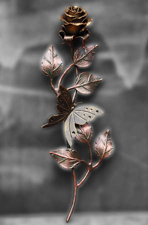 Beautiful hand made rose with butterfly, made from steel and painted