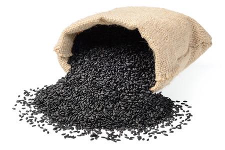 black sesame in the sack on white