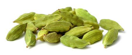 dried cardamom seeds isolated on white