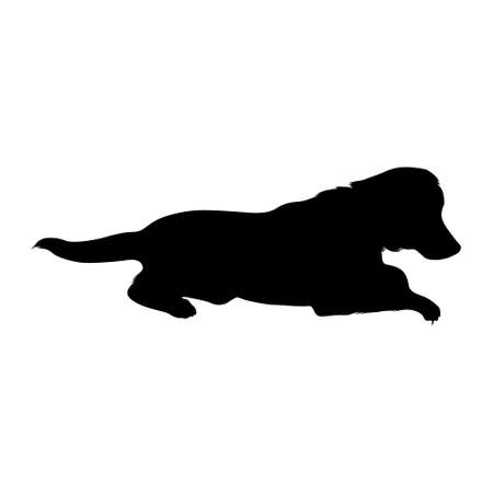 Illustration pour Sitting Labrador Retriever (Canis Lupus) On a Side View Silhouette Found In Map Of United Kingdom. Good To Use For Element Print Book, Animal Book and Animal Content - image libre de droit