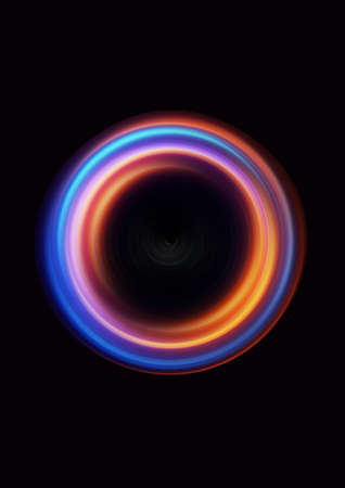 Photo pour Luminous glowing swirling neon blue and orange energy flow tunnel digitally generated - image libre de droit
