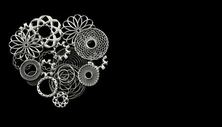 Photo pour Mechanical heart made of gears and small spare parts in silver on back background wirh copyspace - image libre de droit