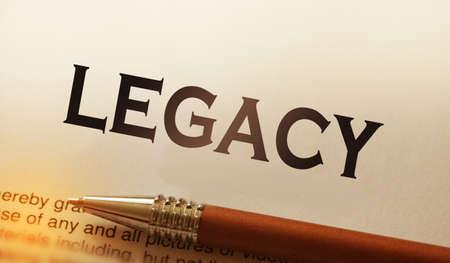 Photo pour Legacy word printed and luxury pen. Legislation last will concept - image libre de droit