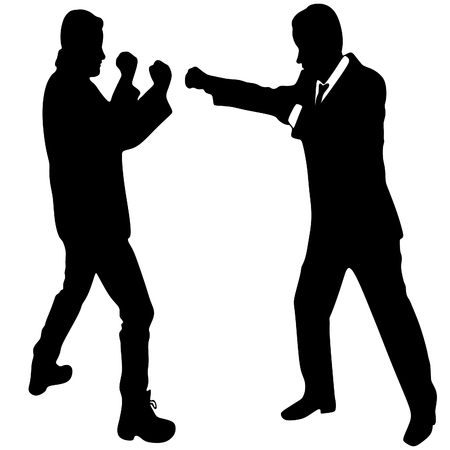 young man boxing with a young businessman