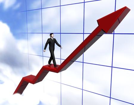 Render of graph businessmen walking red arrow in clouds
