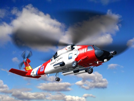 Render of helicopter coast guard Jayhawk  fly in clouds