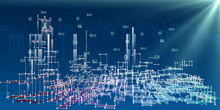 Photo pour Abstract analysis infographics background with blurred lines and spot. 3d diagram analysis algorithms. City network concept. Big data. Data chart. - image libre de droit