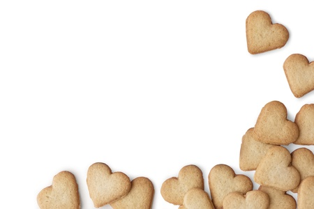 Heart-shaped cookies on white background