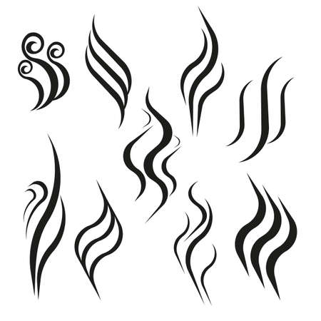 Illustration pour Smell aroma and heat sign set. Odor and scent or hot vapor silhouettes. Smoke hot vector icon isolated on white background. - image libre de droit
