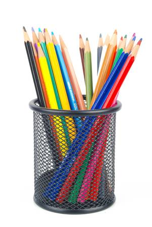 Steel mesh brush pot and pencils
