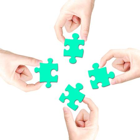 Hand and puzzle