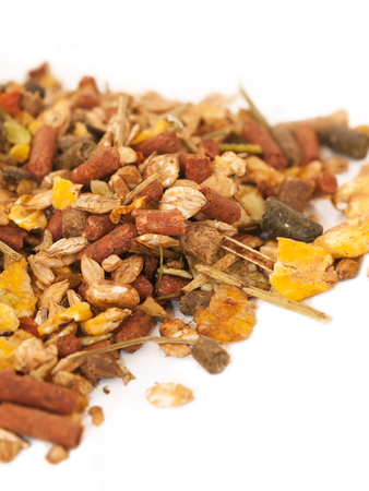 natural  muesli  with live yeast  background for horse  macro