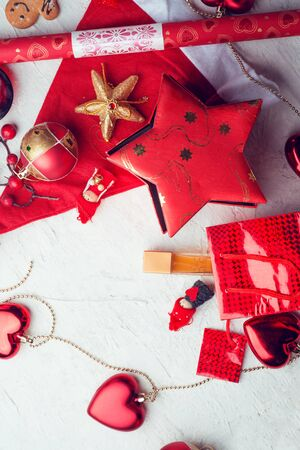 Photo for jolly traditional  Christmas set with decorations and gifts.  around white background. flat lay - Royalty Free Image