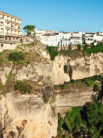 Panoramic view at gorge of New bridge in Ronda, one of the famous place in Andalucia. Andalusia, Spain