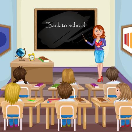 Illustration pour Illustration of kids studying in classroom with teacher - image libre de droit