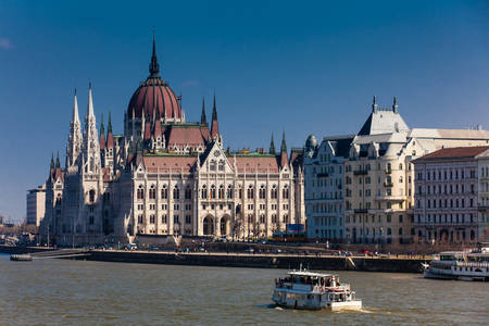 Hungary Parliament building and Danube river