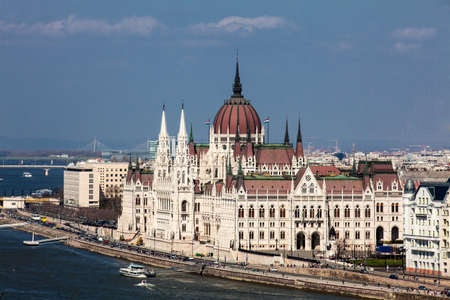 View of the Hungary Parliament building and Danube river in Budapest