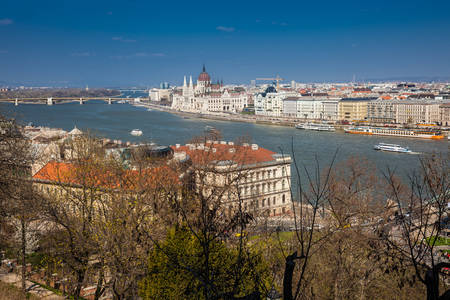 View of the Hungary Parliament building, Budapest city and Danube river