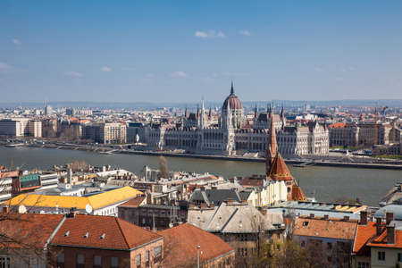 View of the Hungary Parliament building, Budapest city and Danube river from the Fisherman Bastion