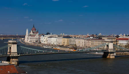View of the Budapest city and Danube river