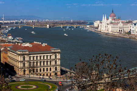 View of the Hungary Parliament building, Margaret Bridge and Danube river in Budapest