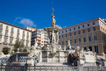 The famous Fountain of Neptune located at Municipio square in Naples built on 1600