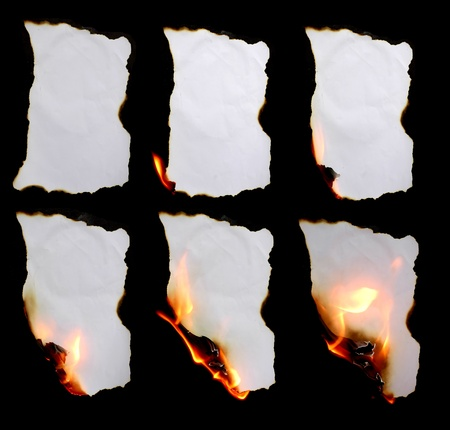 burning paper in dark background