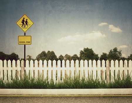 vintage picture of school zone sign