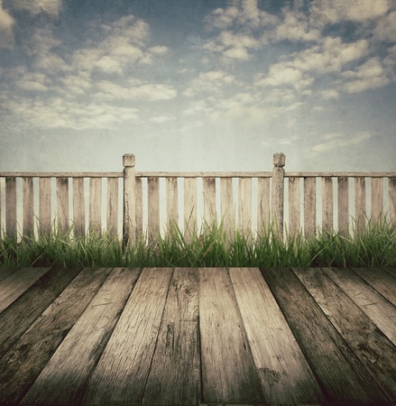 old wooden terrace and blue sky, vintage style