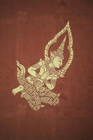 deva mural in temple pavillion ,vintage photo style