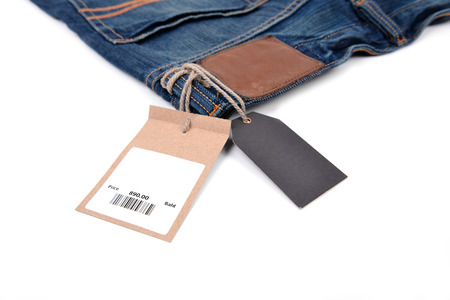 Photo pour price tag with barcode on  jeans textured - image libre de droit