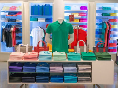 clothes shop with shirt hanged on stand