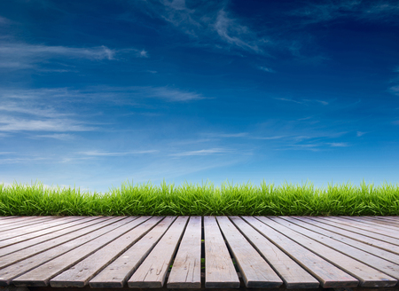 wooden terrace with fresh spring green grass and blue sky