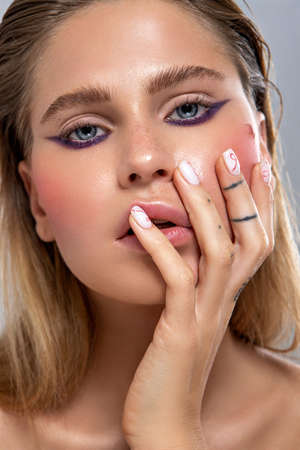 Photo for close up beauty portrait of young adult blonde woman with nude makeup - Royalty Free Image