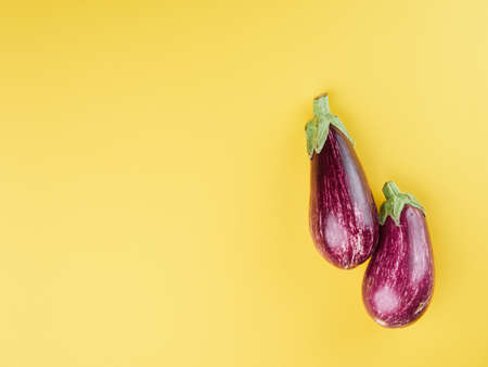 Photo pour pair of striped aubergines on a yellow surface seen from above - image libre de droit
