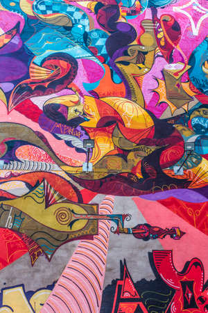 MALMO, SWEDEN - NOVEMBER 8, 2015: colorful abstract graffiti on the wall in Malmo, Sweden