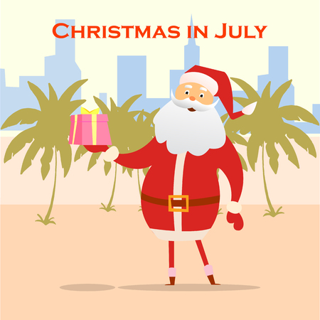 Christmas In July Royalty Free Images.Summer Santa Claus On The Beach Vector Cute Cartoon
