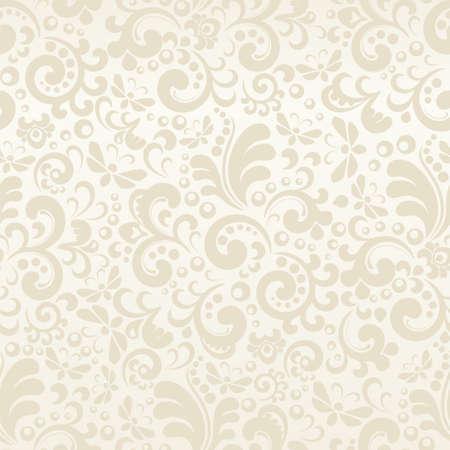 Illustration pour Seamless cream abstract pattern with plant elements - image libre de droit