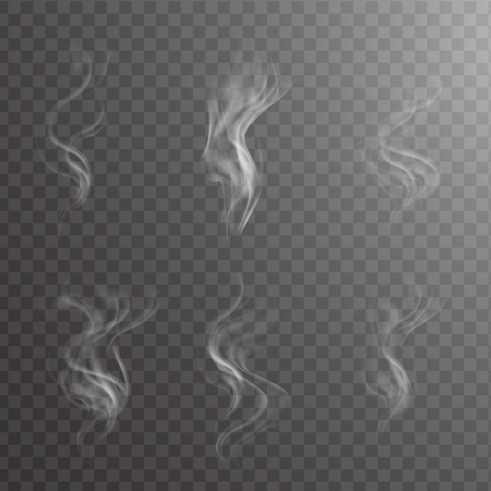 Illustration pour White cigarette smoke waves on transparent. Transparent white steam over cup on dark background background vector illustration. - image libre de droit