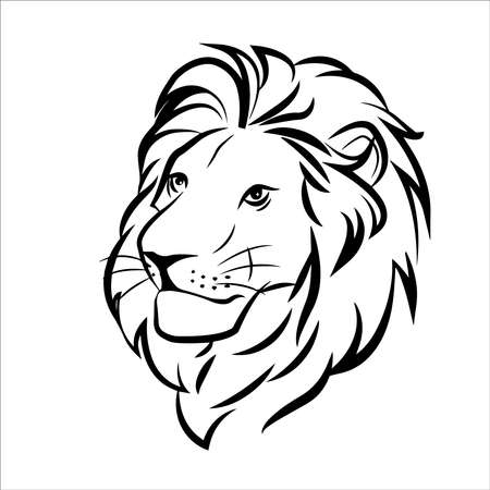 Illustration for lion head in color logo on white background - Royalty Free Image