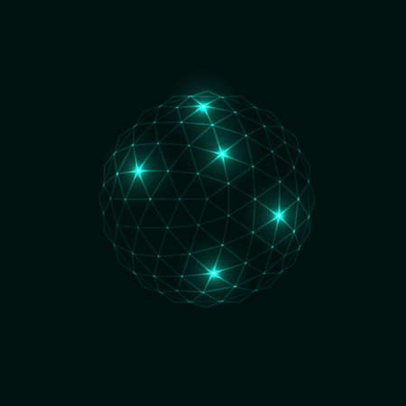 Illustration pour 3d vector digital wireframe spherical objects. Vector - image libre de droit