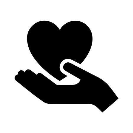 Illustration pour hand holding heart icon on a background - image libre de droit