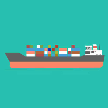 Cargo ship in the ocean icon