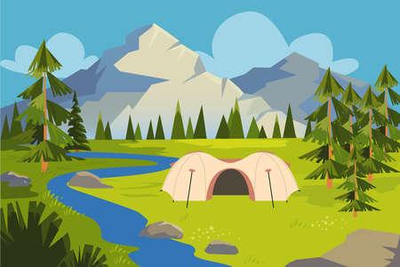 Illustration pour Picture of meadow, river near mountains. - image libre de droit