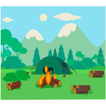 Illustration pour Broken camp, mountain trip illustration - image libre de droit